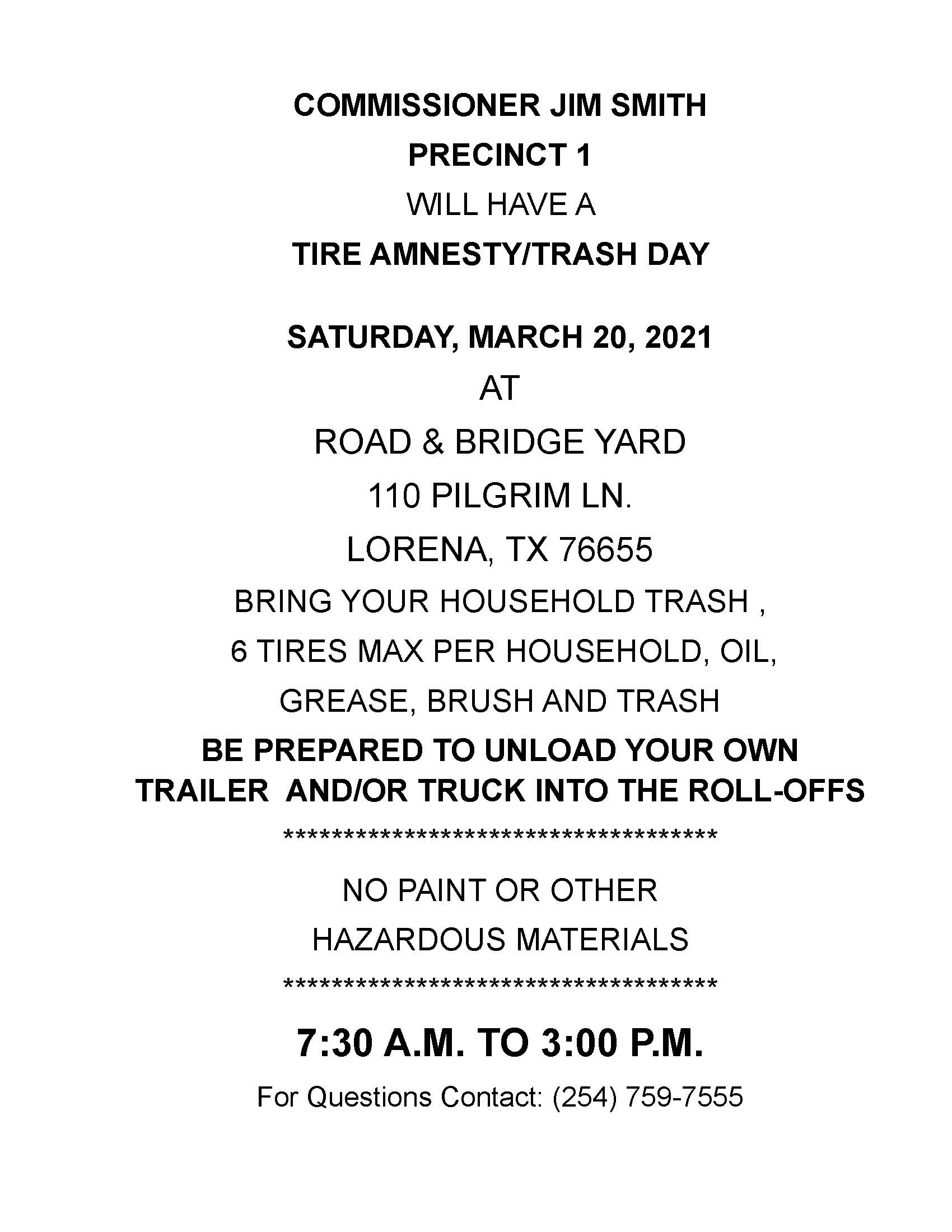 Tire/Trash Day March 20, 2021 Flyer
