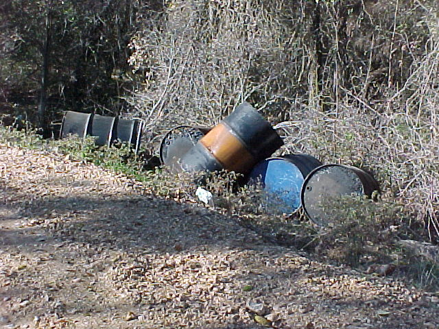 Barrels of used oil.