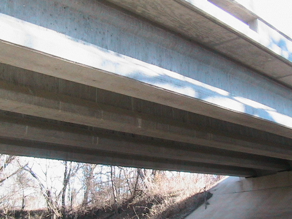 View of the concreate beams used to add the needed support for the bridge