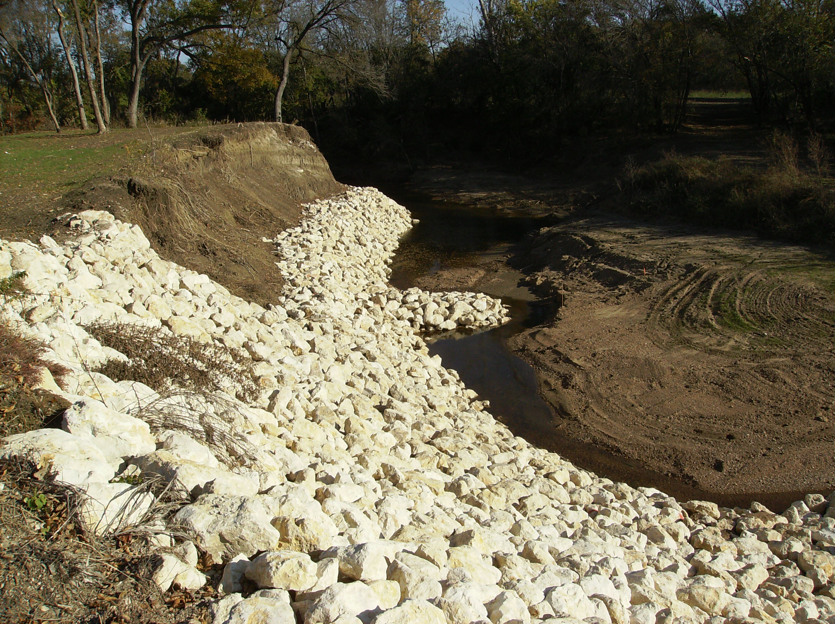 White rocks helping to stop the erosion