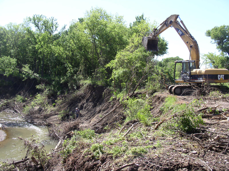 Backhoe working at Aqullia Creek
