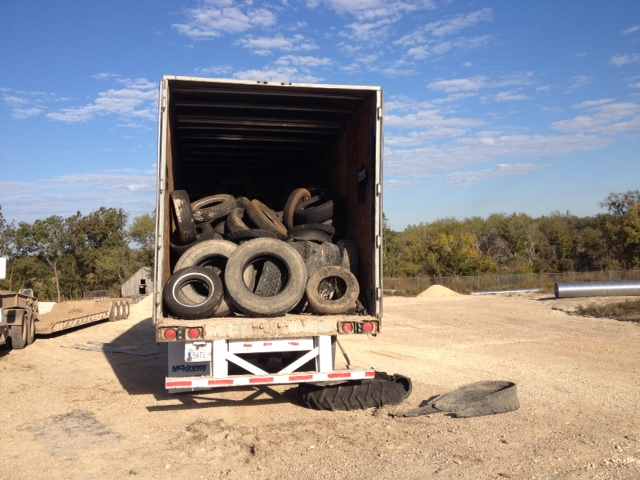 Truck full of used tires