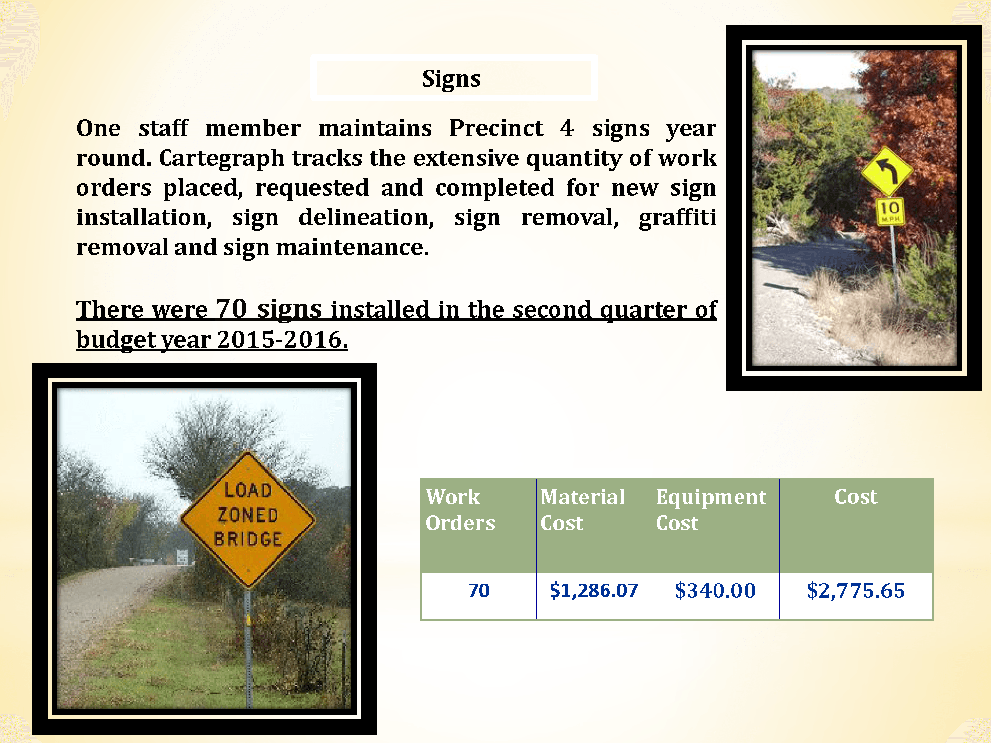 McLennan County Precinct 4 Road & Bridge Signs