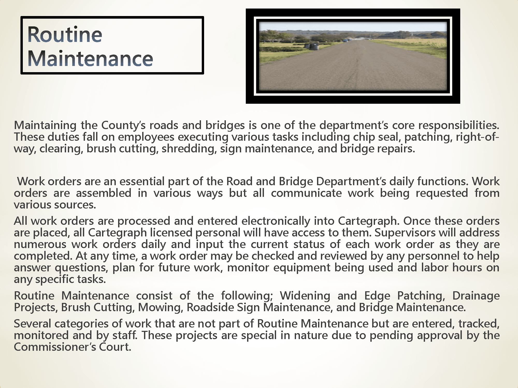 Routine Maintenance Information